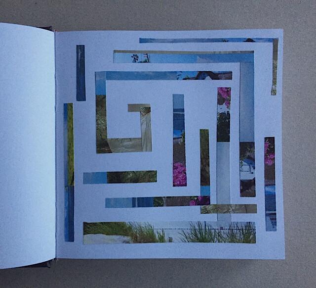 Labyrinth - Irrgarten?, Collage im Skizzenbuch, 14 x 14 cm, 2017, (c) hehocra