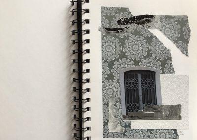 Fenster alt, Schnipsel ringsum, grau, Collage, Papier
