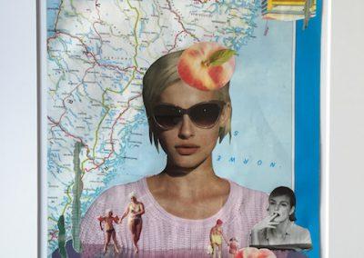Ein Pfirsich auf dem Kopf, Collage, Papier, 20 x 29 cm, 2015, (c) hehocra