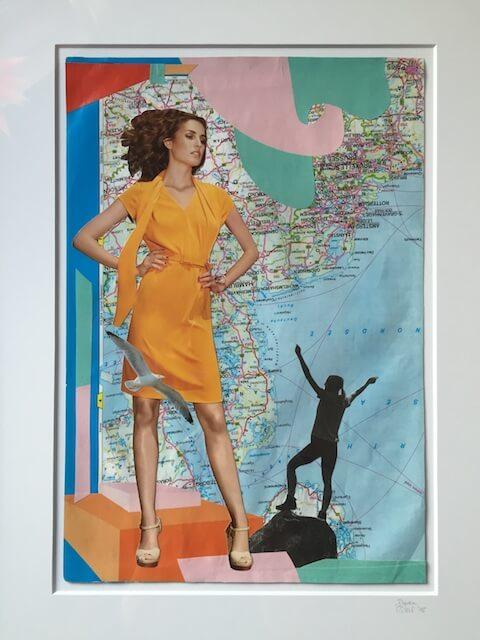 Collage, Papier, Frau im orangefarbenen Kleid stützt die Hände in ihre Hüften, eine Möwe fliegt an ihrem Bein, im Hintergrund Landkarte, unten ein Schatten einer Frau, die die Arme hochreißt