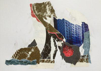 Der rote Faden und das W, Collage, Papier, 41 x 29 cm, 2016, (c) hehocra