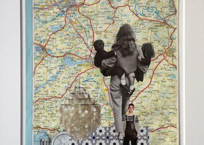 Zwei Kinder auf dem Arm, Collage, Papier, 20 x 29 cm, 2015 (c) hehocra