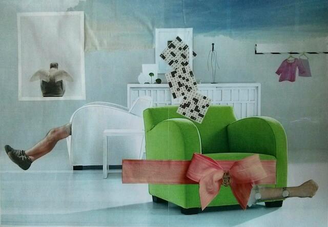 Papiercollage, Sessel grün mit Schleife rosa