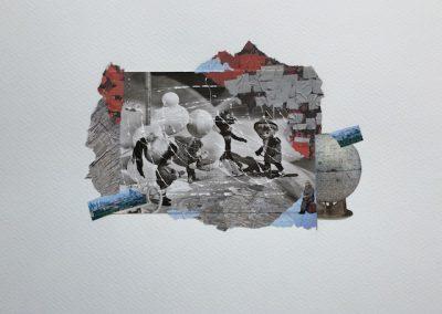 Postkartengrüße aus der Kindheit 2/7, Collage, Papier, 32 x 24 cm, 2015, (c) hehocra