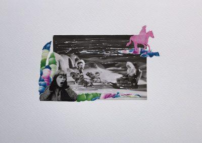 Postkartengrüße aus der Kindheit 6/7, Collage, Papier, 32 x 24 cm, 2015, (c) hehocra