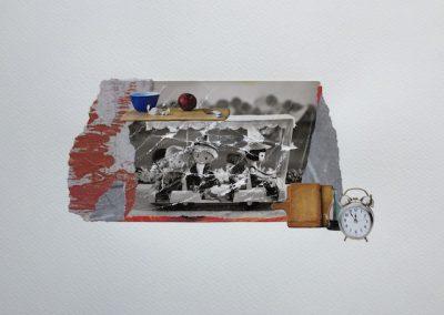 Postkartengrüße aus der Kindheit 7/7, Collage, Papier, 32 x 24 cm, 2015, (c) hehocra