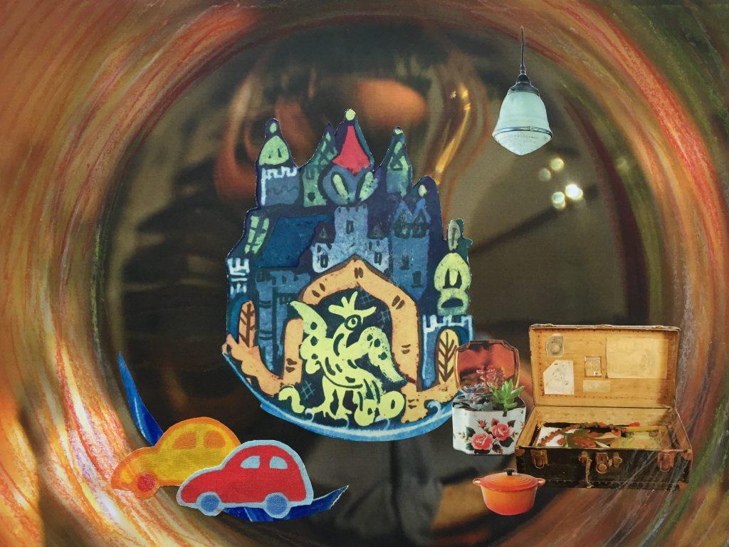 Collage, Papier, Pastellkreide kreisförmig, Märchenschloss mit Vogel, Stoffautos