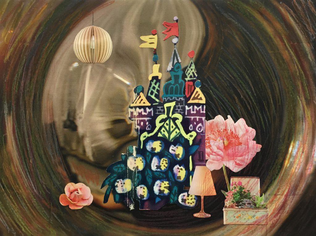 Collage, Papier, Märchenschloss, Pastellkreiden kreisförmig, Märchen