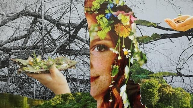Collage, Papier, Frauenporträt halb mit Blumenschmuck im roten Haar, vor Ästen in sw, zwei Hände, grün, Frühling