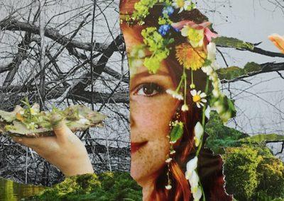 Frühling oder Transformation, Collage, Papier, 29 x 16 cm, 2015, (c) hehocra