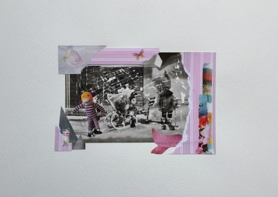 Postkartengrüße aus der Kindheit 3/7, Collage, Papier, 32 x 24 cm, 2015, (c) hehocra