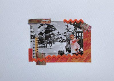 Postkartengrüße aus der Kindheit 5/7, Collage, Papier, 32 x 24 cm, 2015, (c) hehocra