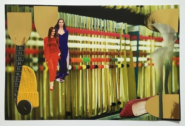 Akten mit bunten Markern hängend, Collage