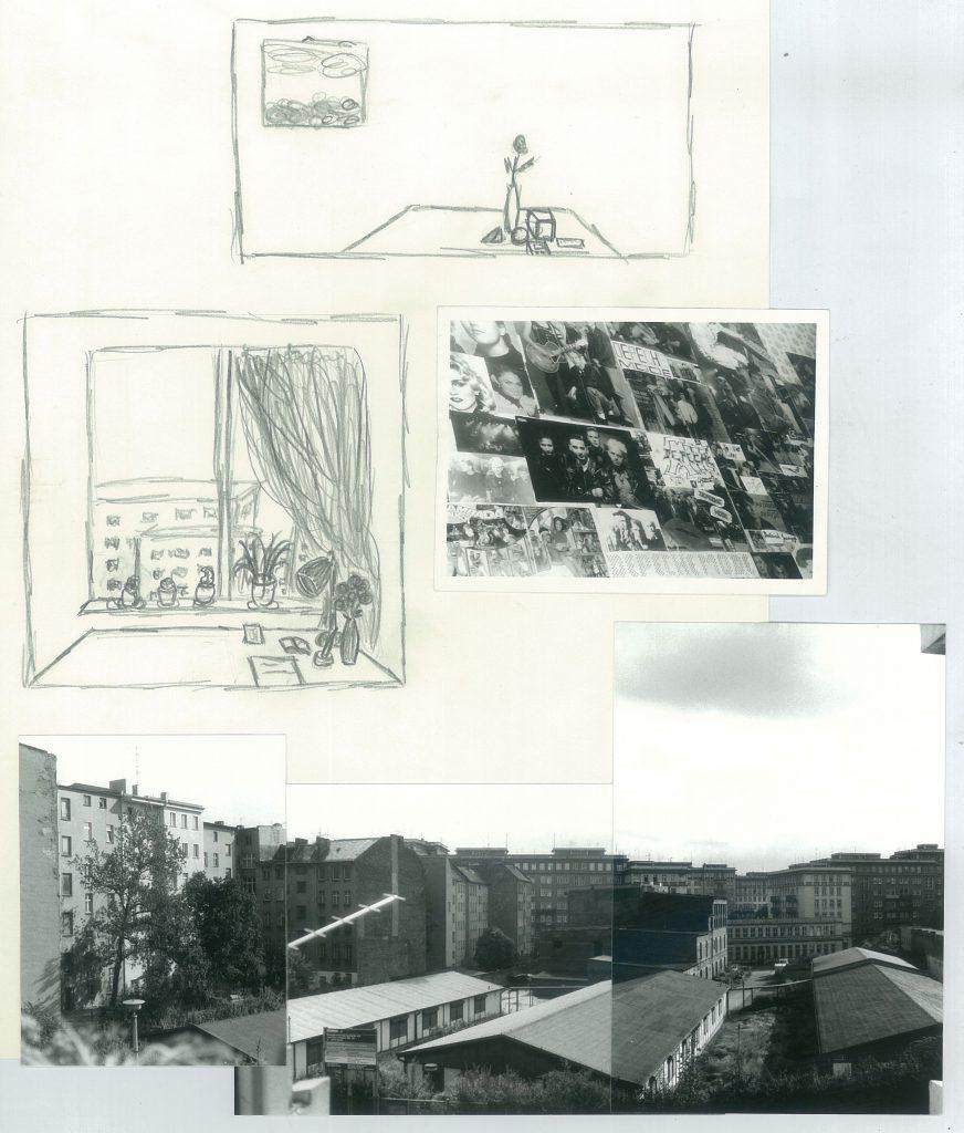 Collage mit Zeichnungen und Fotografien