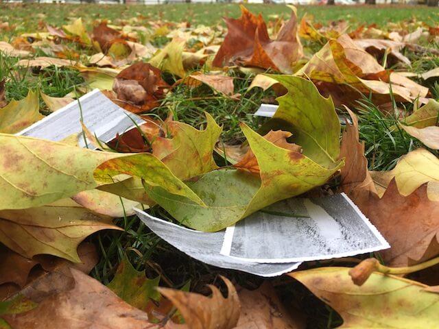 Eine Pfütze auf Papier im Herbst 3, (c) hehocra