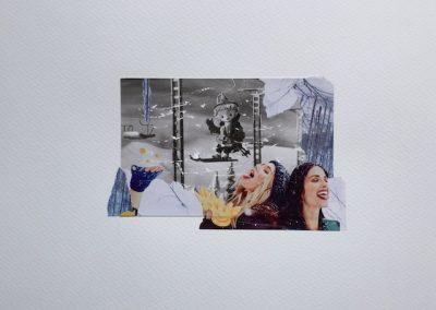 Postkartengrüße aus der Kindheit 1/7, Collage, Papier, 32 x 24 cm, 2015, (c) hehocra