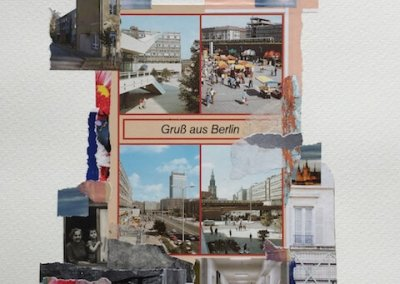 Postkartengrüße aus Berlin 2/16, Collage Papier, 32 x 24 cm, 2015, (c) hehocra