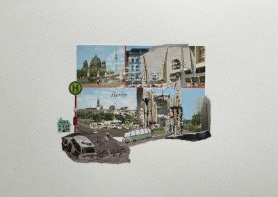 Postkartengrüße aus Berlin 04/16, Collage Papier, 32 x 24 cm, 2015, (c) hehocra