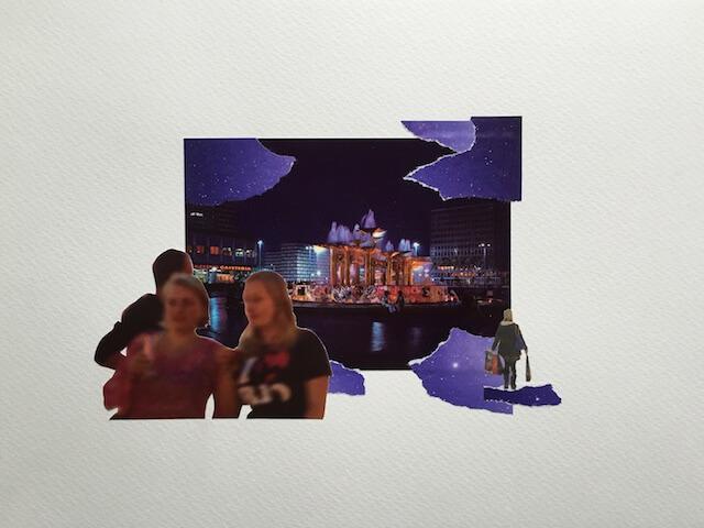 Postkartengrüße aus Berlin 05/16, Collage Papier, 32 x 24 cm, 2015, (c) hehocra