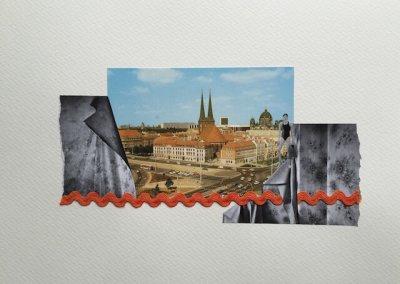 Postkartengrüße aus Berlin 07/16, Collage Papier, 32 x 24 cm, 2015, (c) hehocra