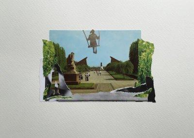 Postkartengrüße aus Berlin 10/16, Collage Papier, 32 x 24 cm, 2015, (c) hehocra