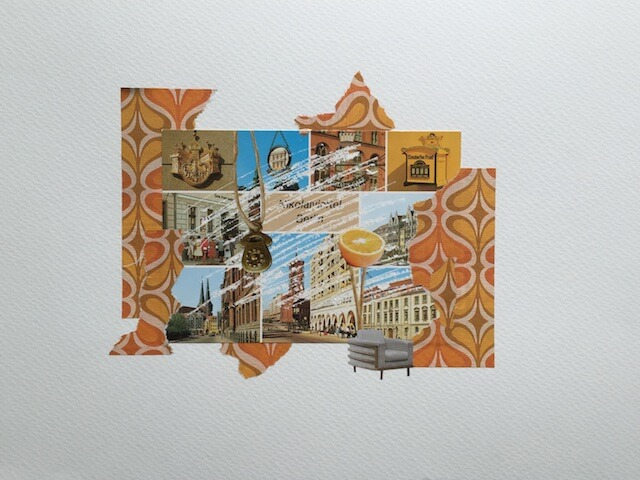 Postkartengrüße aus Berlin 11/16, Collage Papier, 32 x 24 cm, 2015, (c) hehocra