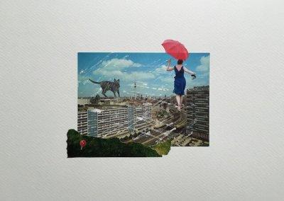 Postkartengrüße aus Berlin 16/16, Collage Papier, 32 x 24 cm, 2015, (c) hehocra