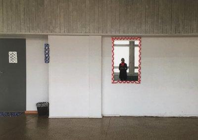 Typenschulbau 2/9, Fotografie auf Karton, Farbdruck, Stickereien per Hand, 27 x 20 cm, 2016, (c) hehocra