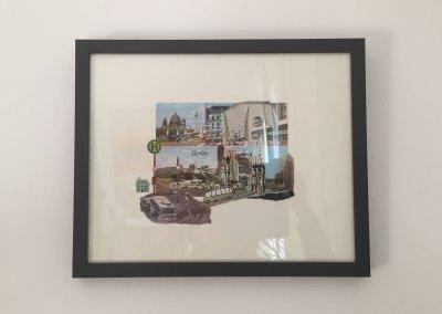 Postkartengrüße aus Ostberlin, Collage mit Rahmen, 33 x 27 x 2 cm, (c) hehocra