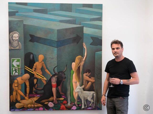 Ivano Pellecchia: Minotaurus, Öl auf Leinwand, 150 x 170 cm, 2017