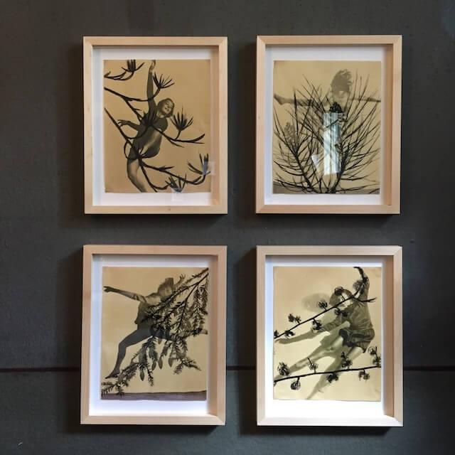 Dancing Women, Collagen/Mixed Media, 2017, Fotoinkjet print auf Papier gedruckt und Tinte, 19,5 x 24,4 x cm, gerahmt 24 x 30 cm, Eva Gjaltema