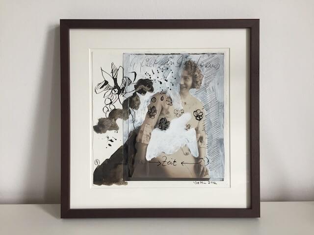 """Blatt 4 """"Die Zeit"""" – 25 x 25 cm (c) Collage von Susanne Haun"""