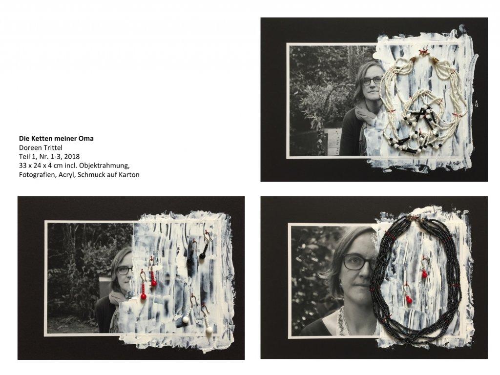 Die Ketten meiner Oma, Teil 1, Nr. 1 bis 3, 33 x 24 x 4 cm incl. Objektrahmung, 2018, (c) Doreen Trittel