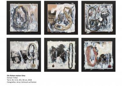 Die Ketten meiner Oma, Teil 2, Nr. 7 bis 12, je 30 x 30 cm, 2018, (c) Doreen Trittel