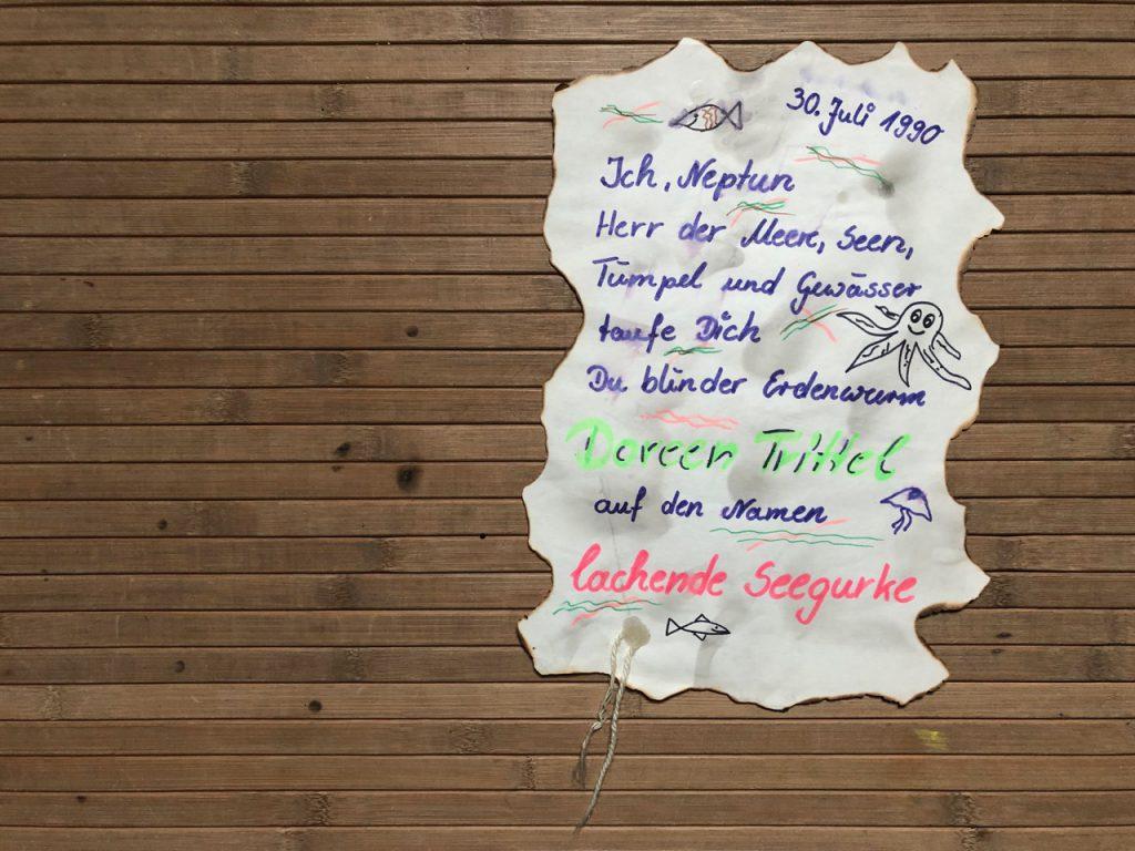 Lachende Seegurke, Taufurkunde vom Neptunfest, (c) privat
