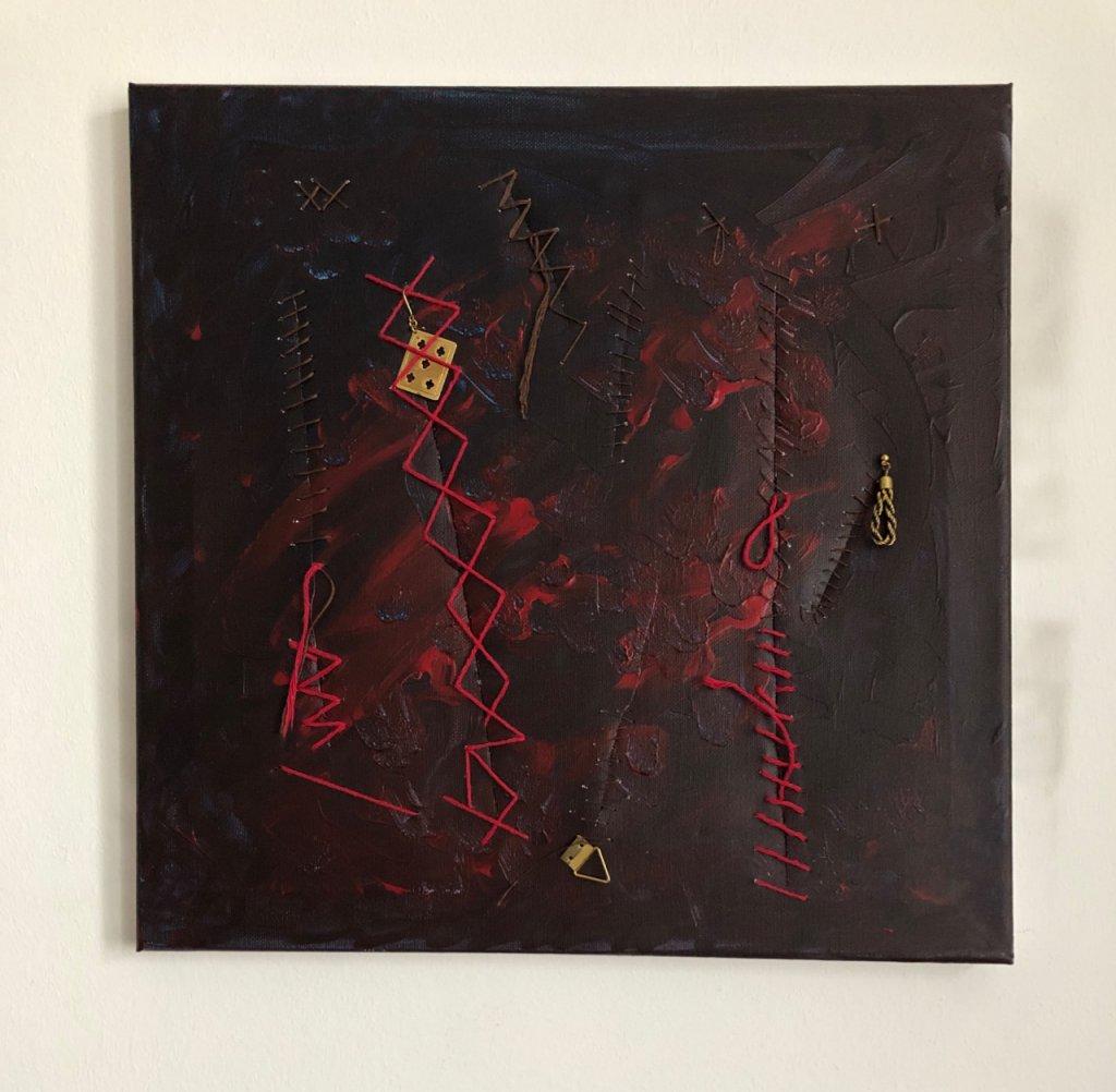 Genähte Wunden, Collage auf Leinwand, 40x40 cm, 2018, (c) Doreen Trittel