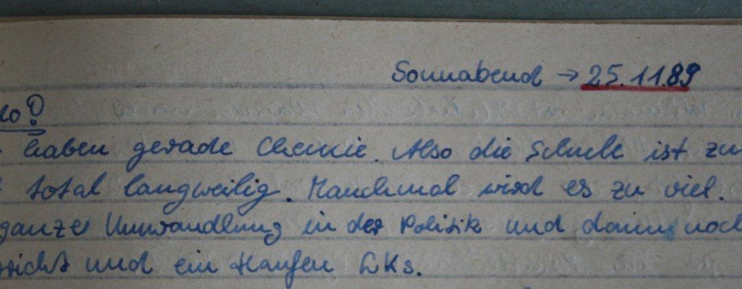 Tagebuch-Schnipsel, Schule, ostdeutsche Kindheit, 1989, (c) Doreen Trittel