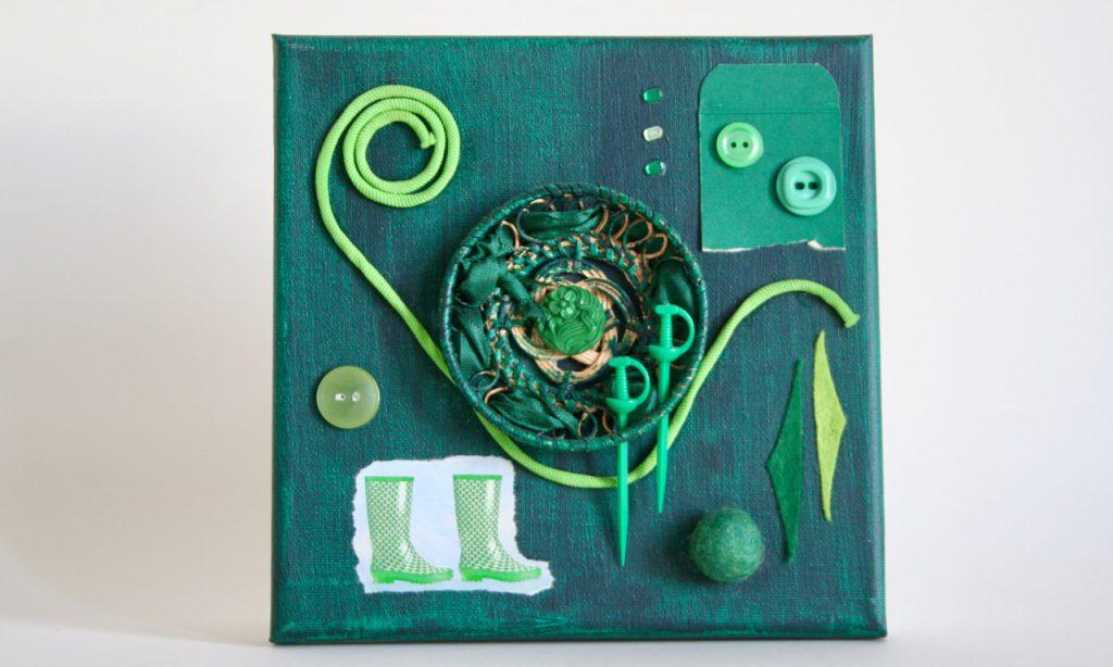 Regenbogen, grün, Assemblage, 20x20cm, 2010, (c) Doreen Trittel