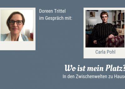 """Startbild zum Gespräch von Doreen Trittel mit Carla Pohl """"Wo ist mein Platz? In den Zwischenwelten zu Hause."""""""