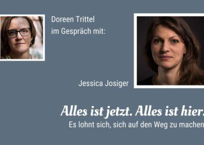 Startbild blaugrau. Doreen Trittel (links Porträt) im Gespräch mit Jessica Josiger (rechts Porträt)