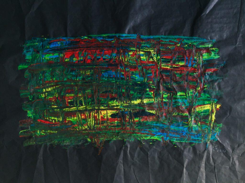 Bunt auf Schwarz 1, 51x38cm, 2017, (c) Doreen Trittel