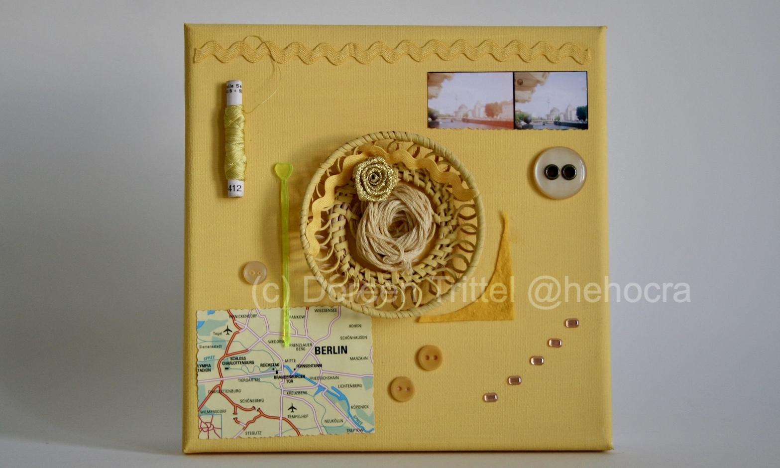 Erinnerungen gelb, Collage auf Leinwand, (c) Doreen Trittel