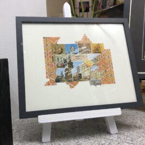 Postkartengrüße aus Berlin..., Collage mit Rahmen, 33 x 27 x 2 cm, (c) Doreen Trittel