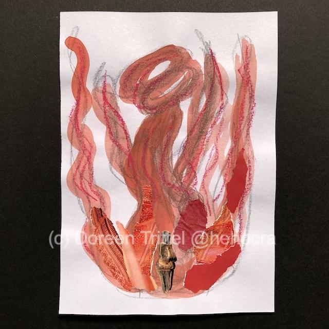 Weiblich rot, Materialmix auf Papier , (c) Doreen Trittel