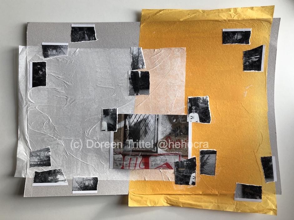 Erinnerungen sortieren, Collage auf Pappe, 2019, (c) Doreen Trittel