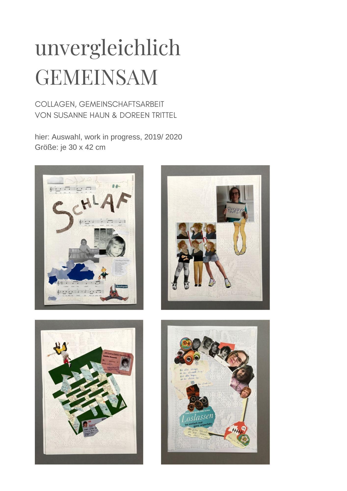 unvergleichlich GEMEINSAM, Collagen, work in progress, (c) Susanne Haun und Doreen Trittel