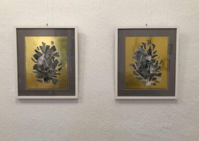 Neuordnung - auf GOLD Collage, Papier je 43 x 50 cm, 2016 Doreen Trittel